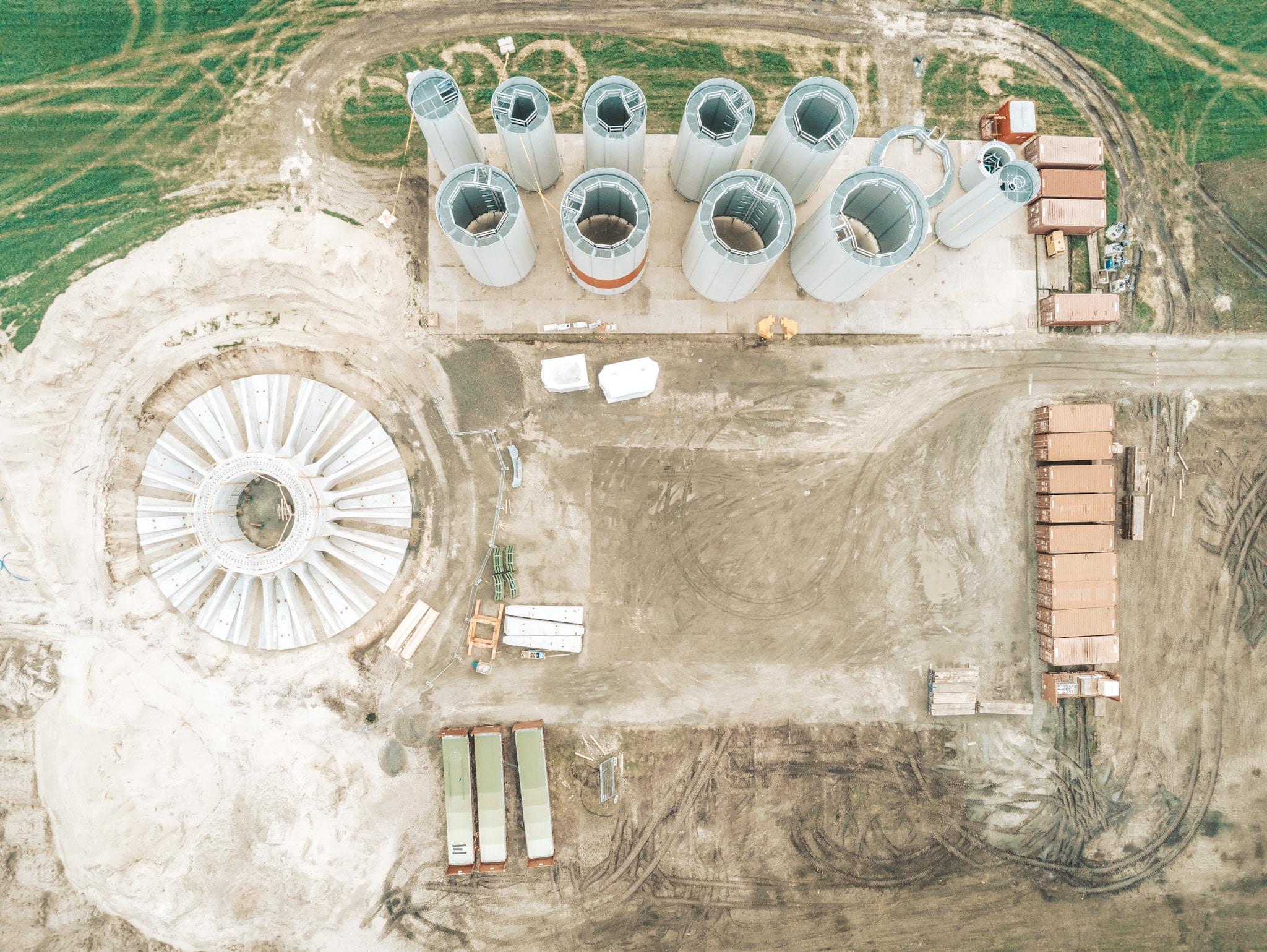 Anker Foundations Fertigteil-Fundament - Baustelle Draufsicht, von oben